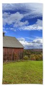 Woodstock Vermont Old Red Barn In Autunm Beach Towel
