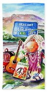 Woolhelmina The Scottish Sheep Playing Flamenco Beach Towel
