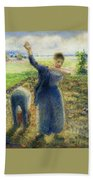 Workers In The Fields 1896-97 Camille Pissarro Beach Towel
