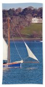 Working Boat At Trelissick Cornwall Beach Towel