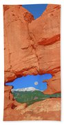 World-famous Pikes Peak Framed By What We Call The Keyhole  Beach Towel