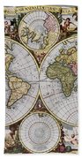 World Map, C1690 Beach Towel