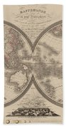 World Map Divided Into Two Hemispheres Beach Towel