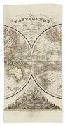 World Map In Two Hemispheres Beach Towel