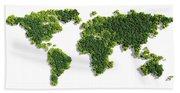 World Map Made Of Green Trees Beach Sheet