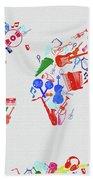 World Map Music 3 Beach Towel