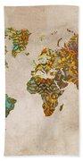 World Map Oriental Beach Towel