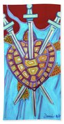 World Turtle Three Of Swords Beach Towel