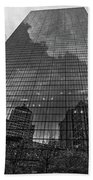 World's Largest Canvas John Hancock Tower Boston Ma Black And White Beach Towel