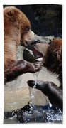 Wrestling Grizzly Bears In A Shallow River Beach Towel