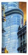 Wrigley Building And Trump Tower Dsc0540 Beach Towel