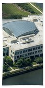 Wrigley Global Innovation Center In Chicago Aerial Photo Beach Towel