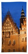 Wroclaw Old Town Hall At Night Beach Towel