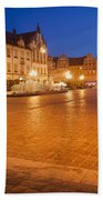 Wroclaw Old Town Market Square At Night Beach Sheet