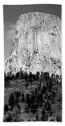 Wyoming Devils Tower National Monument With Climbers Bw Beach Towel