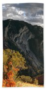 Y Mountain Above Provo Utah At Sunset Beach Towel