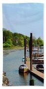 Yacht Harbor On The River. Film Effect Beach Towel