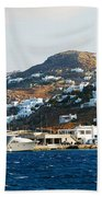 Yachts Docked At Port Skala Greece On Patmos Island Beach Towel