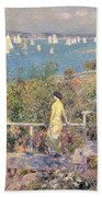 Yachts In Gloucester Harbor Beach Towel by Childe Hassam