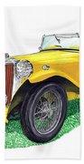 Yellow 1949 M G T C Midget Beach Towel