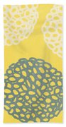 Yellow And Gray Garden Bloom Beach Towel