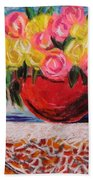 Yellow  And Pink Beach Towel