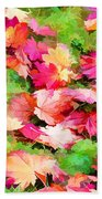 Yellow And Red Fall Maple Leaves Beach Towel