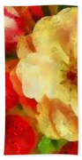 Yellow And Red Floral Delight Beach Towel