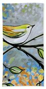 Yellow Bird Among Sage Twigs Beach Sheet