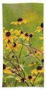 Yellow Black Eyed Susan Wildflowers In Summer Beach Towel