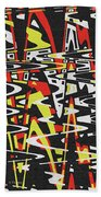 Yellow Black Red White Drawing Abstract Beach Towel