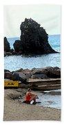 Yellow Boat On The Beach Beach Towel