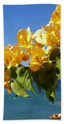 Yellow Bougainvillea Over The Mediterranean On The Island Of Cyprus Beach Towel