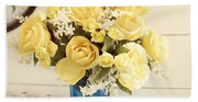 Yellow Bouquet Of Flowers Beach Sheet