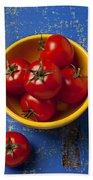 Yellow Bowl Of Tomatoes  Beach Towel