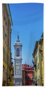 Yellow Buildings And Chapel In Old Town Nice, France - Landscape Beach Towel