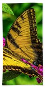 Yellow Butterfly In The Garden Beach Towel