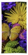 Yellow Butterfly On Bouquet Beach Towel