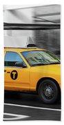 Yellow Cab In Manhattan In A Rainy Day. Beach Towel