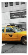 Yellow Cab In Manhattan With Black And White Background Beach Towel