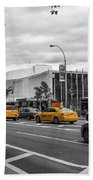 Yellow Cabs By The United Nations, New York 2 Beach Towel