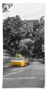 Yellow Cabs In Central Park, New York 3 Beach Towel