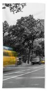 Yellow Cabs In Central Park, New York 4 Beach Towel