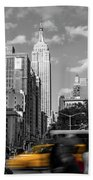 Yellow Cabs In Midtown Manhattan, New York Beach Towel