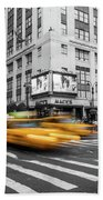 Yellow Cabs Near Macy's Department Store, New York Beach Towel
