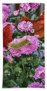 Yellow Caterpillar On Purple Mums Beach Towel