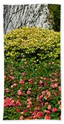Yellow Coleus And Lantana At Pilgrim Place In Claremont-california Beach Towel