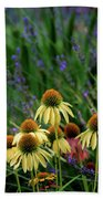 Yellow Coneflowers And Lavender 1633 H_2 Beach Towel