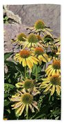 Yellow Echinacea, Straw Flowers Gray Stone Background 2 9132017  Beach Towel