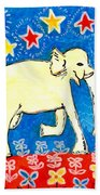 Yellow Elephant Facing Right Beach Towel